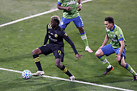 COLUMBUS, OH - DECEMBER 12: Gyasi Zardes #11 of the Columbus Crew turns away from Shane O'Neill #27 of the Seattle Sounders FC during a game between Seattle Sounders FC and Columbus Crew at MAPFRE Stadium on December 12, 2020 in Columbus, Ohio.
