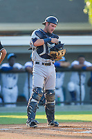 Princeton Rays catcher Nick Ciuffo (14) on defense against the Burlington Royals at Burlington Athletic Park on July 11, 2014 in Burlington, North Carolina.  The Rays defeated the Royals 5-3.  (Brian Westerholt/Four Seam Images)