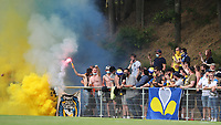 Union supporters pictured with the flare during a preseason friendly soccer game between Tempo Overijse and Royale Union Saint-Gilloise, Saturday 29th of June 2021 in Overijse, Belgium. Photo: SPORTPIX.BE   SEVIL OKTEM