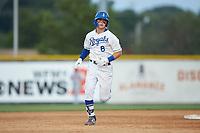 Michael Massey (6) of the Burlington Royals rounds the bases after hitting a home run against the Danville Braves at Burlington Athletic Stadium on July 13, 2019 in Burlington, North Carolina. The Royals defeated the Braves 5-2. (Brian Westerholt/Four Seam Images)
