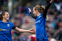 Seattle, WA - Saturday May 13, 2017: Beverly Yanez and Rebekah Stott during a regular season National Women's Soccer League (NWSL) match between the Seattle Reign FC and the Washington Spirit at Memorial Stadium.