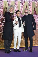 """Brian May, Rami Malek and Roger Taylor<br /> arriving for the """"Bohemian Rhapsody"""" World premiere at Wembley Arena, London<br /> <br /> ©Ash Knotek  D3455  23/10/2018"""
