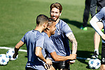 Real Madrid's Lucas Vazquez, Mariano Diaz and Sergio Ramos during training session. April 17,2017.(ALTERPHOTOS/Acero)