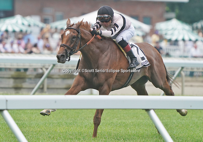 July 17, 2021: Great Island #2, ridden by jockey Joel Rosario wins the Grade 3 Matchmaker Stakes on Haskell Invitational Day at Monmouth Park in Oceanport, New Jersey on July 17, 2021. Scott Serio/Eclipse Sportswire/CSM