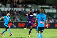 24th March 2021; HBF Park, Perth, Western Australia, Australia; A League Football, Perth Glory versus Sydney FC; Perth's Osama Malik brings down a high loose ball
