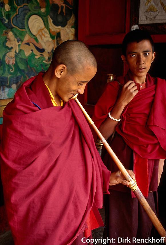 Gebet im im Kloster Phyang, Ladakh (Jammu+Kashmir), Indien
