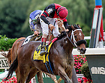 ELMONT, NY - OCTOBER 01: Paulassilverlining #4, ridden by John Velazquez, wins the Gallant Bloom Stakes on Turf Classic Day at Belmont Park on October 1, 2016 in Elmont, New York. (Photo by Dan Heary/Eclipse Sportswire/Getty Images)