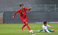 Noah Mawete Kinsiona (6) of Belgium pictured in action with Alexander Figueiredo Gurendal (20) of Norway during a soccer game between the national teams Under17 Youth teams of  Norway and Belgium on day 3 in the Qualifying round in group 3 on Tuesday 12 th of October 2020  in Tubize , Belgium . PHOTO SPORTPIX   DAVID CATRY