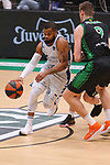 Liga ENDESA 2020/2021. Game: 16.<br /> Club Joventut Badalona vs Hereda San Pablo Burgos: 78-95.<br /> Omar Cook vs Conor Morgan.