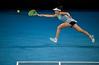 20th February 2021, Melbourne, Victoria, Australia; Jennifer Brady of the United States of America returns the ball during the Women's Singles Final of the 2021 Australian Open on February 20 2021, at Melbourne Park in Melbourne, Australia.