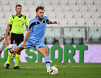 Calcio, Serie A: Juventus - Lazio, Allianz Stadium, July 20, 2020.<br /> Lazio's Ciro Immobile kicks a penalty and scores during the Italian Serie A football match between Juventus and Lazio at the Allianz stadium in Turin, July 20, 2020.<br /> UPDATE IMAGES PRESS/Isabella Bonotto