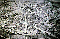View of Plazza del Popolo, Rome Italy. 18th century engraving.
