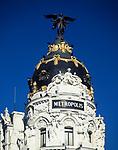 Spanien, Kastilien, Madrid: gefluegelte Viktoria auf dem Metropolis | Spain, Castile, Madrid: winged Victoria on top of the Metropolis