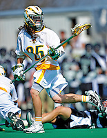 3 April 2010: University of Vermont Catamounts' Long Stick Midfielder Michael Connors, a Freshman from East Walpole, MA, in action against the Binghamton University Bearcats at Moulton Winder Field in Burlington, Vermont. The Catamounts defeated the visiting Bearcats 11-8 in Vermont's opening home game of the 2010 season. Mandatory Credit: Ed Wolfstein Photo