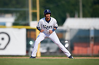 Princeton Rays first baseman Carlos Vargas (25) leads off first base during the first game of a doubleheader against the Johnson City Cardinals on August 17, 2018 at Hunnicutt Field in Princeton, Virginia.  Johnson City defeated Princeton 6-4.  (Mike Janes/Four Seam Images)