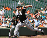 Mark Buehrie of the Chicago White Sox pitches during a MLB game against the Baltimore Orioles at Camden Yards, on August 8 2010, in Baltimore, Maryland. Orioles won 4-3.