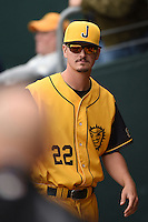 Jacksonville Suns  pitcher Justin Nicolino (22) in the dugout during a game against the Pensacola Blue Wahoos on April 20, 2014 at Bragan Field in Jacksonville, Florida.  Jacksonville defeated Pensacola 5-4.  (Mike Janes/Four Seam Images)