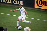 LOS ANGELES, CA - AUGUST 22: Emiliano Insua #3 of the Los Angeles Galaxy passes off the ball during a game between Los Angeles Galaxy and Los Angeles FC at Banc of California Stadium on August 22, 2020 in Los Angeles, California.