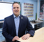 WATERBURY, CT. - 11 May 2021-051121SV05-Ron Napoli, state rep. for 73rd District and teacher at Waterbury Adult Education teaches an online class in Waterbury Tuesday.<br /> Steven Valenti Republican-American