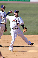 Binghamton Mets shortstop Sean Kazmar #9 throws to first during a game against the Akron Aeros at NYSEG Stadium on April 7, 2012 in Binghamton, New York.  Binghamton defeated Akron 2-1.  (Mike Janes/Four Seam Images)