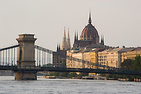 A view of Budapest including the Parliament building, The Chain Bridge and the Danube River, Budapest, Hungary, Europe
