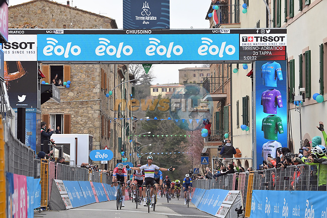 World Champion Julian Alaphilippe (FRA) Deceuninck-Quick Step outsprints Dutch Champion Mathieu Van Der Poel (NED) Alpecin Fenix and race leader Maglia Azzura Wout Van Aert (BEL) Team Jumbo-Visma to win Stage 2 of Tirreno-Adriatico Eolo 2021, running 202km from Camaiore to Chiusdino, Italy. 11th March 2021. <br /> Photo: LaPresse/Gian Mattia D'Alberto  | Cyclefile<br /> <br /> All photos usage must carry mandatory copyright credit (© Cyclefile | LaPresse/Gian Mattia D'Alberto)