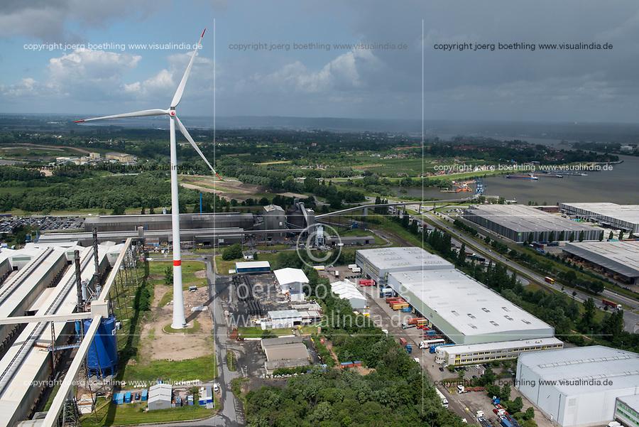 GERMANY Hamburg, wind turbine Siemens SWT-3.0-113 of Municipal energy supplier Hamburg Energie at Trimet aluminium company area / DEUTSCHLAND, Hamburg, Trimet Aluminium Werk Gelaende, Siemens Windkraftanlage SWT-3.0-113 des kommunalen Stromerzeuger Hamburg Energie