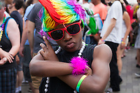 Boy wearing rainbow colored mohawk, Seattle PrideFest 2015, Pride Festival, Washington, USA.