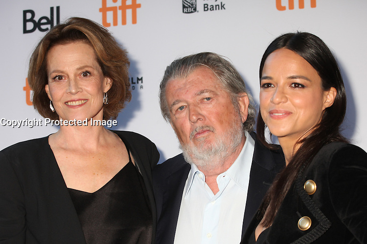 SIGOURNEY WEAVER, DIRECTOR WALTER HILL AND MICHELLE RODRIGUEZ- RED CARPET OF THE FILM '(RE) ASSIGNMENT' - 41ST TORONTO INTERNATIONAL FILM FESTIVAL 2016 , 14/09/2016. # FESTIVAL INTERNATIONAL DU FILM DE TORONTO 2016 - RED CARPET '(RE)ASSIGNMENT'