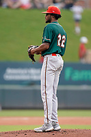 Pitcher J.C. Flowers (22) of the Greensboro Grasshoppers in a game against the Greenville Drive on Saturday, July 24, 2021, at Fluor Field at the West End in Greenville, South Carolina. (Tom Priddy/Four Seam Images)