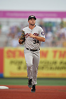 Tri-City ValleyCats right fielder Matthew Barefoot (34) during a NY-Penn League game against the Brooklyn Cyclones on August 17, 2019 at MCU Park in Brooklyn, New York.  The game was postponed due to inclement weather, Brooklyn defeated Tri-City 2-1 in the continuation of the game on August 18th.  (Mike Janes/Four Seam Images)