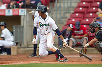 Cedar Rapids Kernels outfielder Byron Buxton #7 bats during a game against the Kane County Cougars at Veterans Memorial Stadium on June 9, 2013 in Cedar Rapids, Iowa. (Brace Hemmelgarn/Four Seam Images)