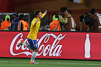 Brazil midfielder Elano celebrates his goal, which gave Brazil a 2-0 lead over North Korea. Brazil defeated North Korea, 2-1, in both teams' opening match of play in Group G of the 2010 FIFA World Cup. The match was played at Ellis Park in Johannesburg, South Africa June 15th.