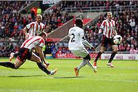 Pictured: Nathan Dyer of Swansea (C) scoring his opening goal. Sunday 11 May 2014<br /> Re: Barclay's Premier League, Sunderland v Swansea City FC at the Stadium of Light, Sunderland, UK.