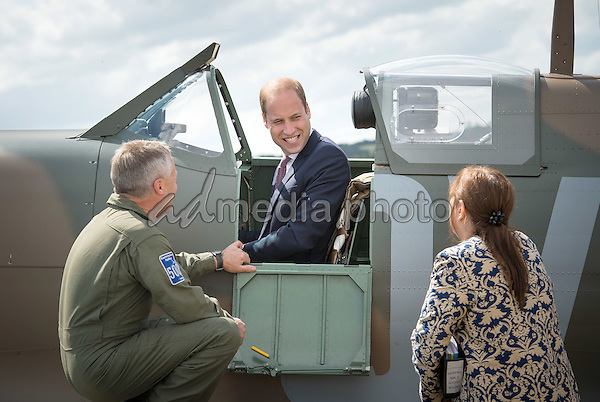 09 July 2015 - Duxford, United Kingdom - Prince William The Duke of Cambridge visiting the Imperial War Museum Duxford to receive a newly restored Supermarine Spitfire Mark I N3200 on behalf of the museum. Photo Credit: Alpha Press/AdMedia