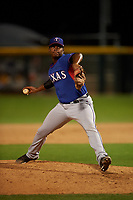 AZL Rangers relief pitcher Leon Hunter (30) during an Arizona League game against the AZL Athletics Gold on July 15, 2019 at Hohokam Stadium in Mesa, Arizona. The AZL Athletics Gold defeated the AZL Rangers 9-8 in 11 innings. (Zachary Lucy/Four Seam Images)