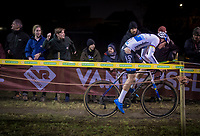 Mathieu van der Poel (NED/Corendon-Circus) showing proof of an unfortunate encounter/crash with a race marshal earlier in the race<br /> <br /> men's race<br /> 44th Superprestige Diegem (BEL) 2018<br /> ©kramon
