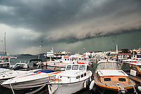 Kinaliada, 7 August 2014, Princes' Islands, Istanbul, Turkey.<br /> <br /> Wild storm rolling in over Istanbul causing flooding everywhere and temporary closure of the International Airport.<br /> <br /> Photo Kees Metselaar