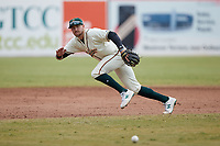 Greensboro Grasshoppers third baseman Jared Triolo (19) on defense against the Rome Braves at First National Bank Field on May 16, 2021 in Greensboro, North Carolina. (Brian Westerholt/Four Seam Images)