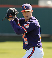 RHP David Haselden (29) of the Clemson Tigers prior to a game against the Wright State Raiders Saturday, Feb. 27, 2011, at Doug Kingsmore Stadium in Clemson, S.C. Photo by: Tom Priddy/Four Seam Images