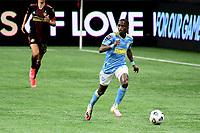 ATLANTA, GA - APRIL 27: Philadelphia Union midfielder #10 Jamiro Monteiro dribbles the ball during a game between Philadelphia Union and Atlanta United FC at Mercedes-Benz Stadium on April 27, 2021 in Atlanta, Georgia.