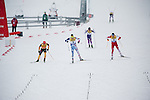 HOLMENKOLLEN, OSLO, NORWAY - March 16: Fighting for the win on the home stretch. (L-R) Eric Frenzel of Germany (GER), Jason Lamy Chappuis of France (FRA) and Wilhelm Denifl of Austria (AUT) during the cross country 15 km (2 x 7.5 km) competition at the FIS Nordic Combined World Cup on March 16, 2013 in Oslo, Norway. (Photo by Dirk Markgraf)