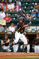 Bradenton Marauders center fielder Elvis Escobar (16) at bat during a game against the Lakeland Flying Tigers on April 16, 2016 at McKechnie Field in Bradenton, Florida.  Lakeland defeated Bradenton 7-4.  (Mike Janes/Four Seam Images)