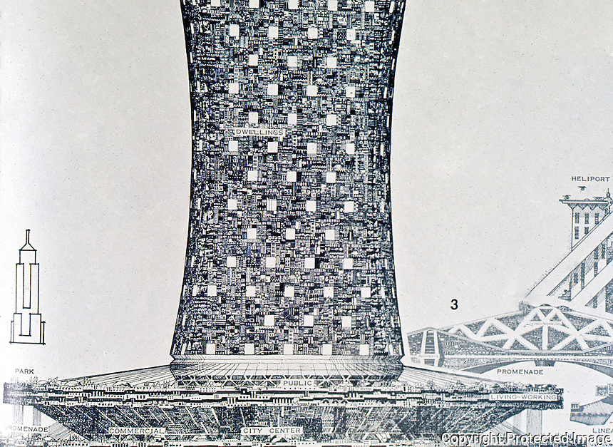 Paolo Soleri:  Babel 11D, elevation.  Population--500,000.  ARCOLOGY,  p. 69.  Photo '77.