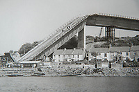 Friday 28 April 2017<br /> Pictured: Collect photograph of the bridge taken after it's collapse <br /> Re: Phill Loyd who was the first person on the scene when the Cleddau bridge collapsed during it's construction. On 2 June 1970 a 70 m (230 ft) cantilever being used to put one of the 150-ton sections into position collapsed on the Pembroke Dock-side of the estuary narrowly missing houses in the village of Pembroke Ferry
