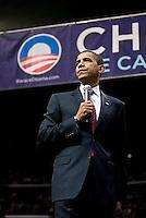 Barack Obama Rally in South  Florida.SUNRISE, FL - MAY 23: U.S. Senator Barack Obama, (D-IL) speaks during a Broward County campaign rally at the BankAtlantic Center May 23, 2008 in Sunrise, Florida. (Photo by Jesus Aranguren)