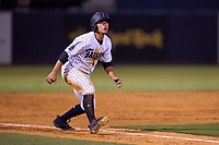 Tampa Tarpons Anthony Volpe (12) leads off third base during a game against the Fort Myers Mighty Mussels on May 20, 2021 at George M. Steinbrenner Field in Tampa, Florida.  (Mike Janes/Four Seam Images)