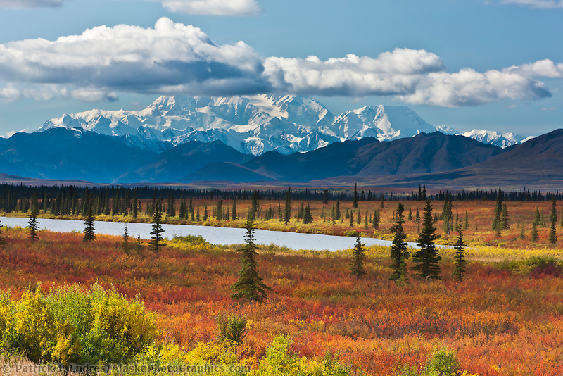 "George Parks Highway near Willow, and a southside view of Mount McKinley ""Denali"", North America's tallest peak at approximately 20,237 ft. (6,168m),  Alaska."