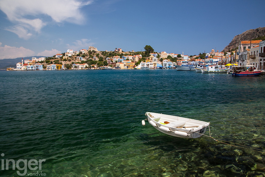 White dinghy in the Harbour of Kastellorizo, Greece