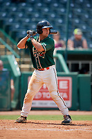 Greensboro Grasshoppers catcher Michael Hernandez (17) at bat during a game against the Lakewood BlueClaws on June 10, 2018 at First National Bank Field in Greensboro, North Carolina.  Lakewood defeated Greensboro 2-0.  (Mike Janes/Four Seam Images)